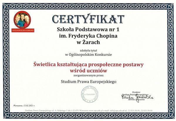 Certyfikat dla Świetlicy SP1
